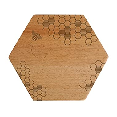 Talisman Designs  Beechwood Cheese Board, Laser Etched with Honey Bee Art, 7  Wide