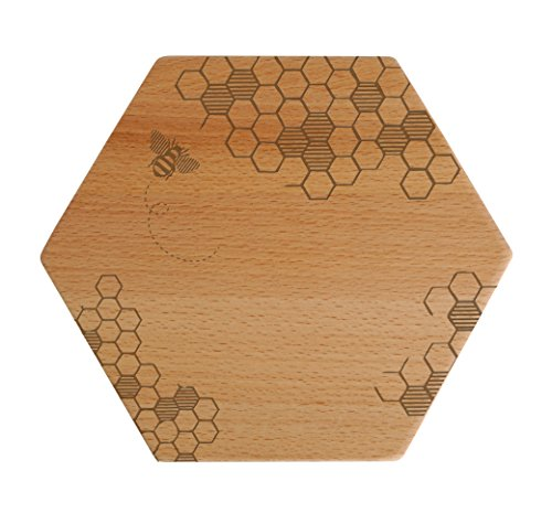 "Talisman Designs  Beechwood Cheese Board, Laser Etched with Honey Bee Art, 7"" Wide"