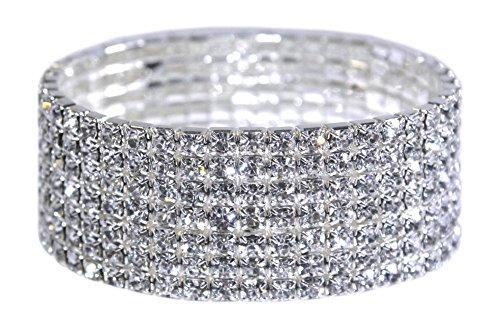Weiss Rhinestone Stretch Bracelet Silver - Genuine Crystal - Bridal, Wedding, Prom, Party, Pageant, Evening Wear, Party Wear, Tennis Bracelet (7 Row)