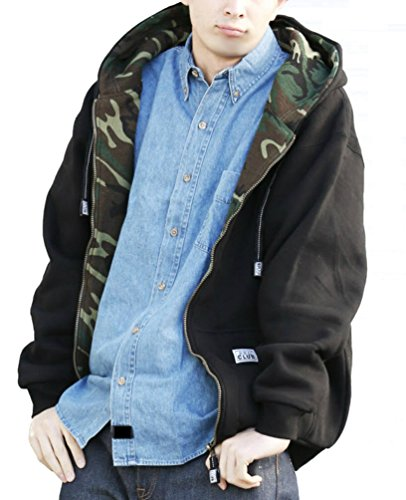Pro Club Men's Full Zip Reversible Hoodie, Black Fleece/Green Camouflage Thermal, ()