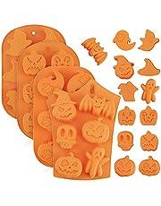 Gukasxi 4 delar halloween silikon bakformar, silikon bakformar med pumpa fladdermus skalle spöke form choklad muffins silikon bakformar för kök gör-det-själv bakverktyg och halloweenpresenter