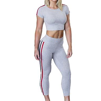 Survêtement Femme Ete Yoga Set Ensemble De Sport Push Up Sport Tops +  Legging Serré Gym 9af3845a05a