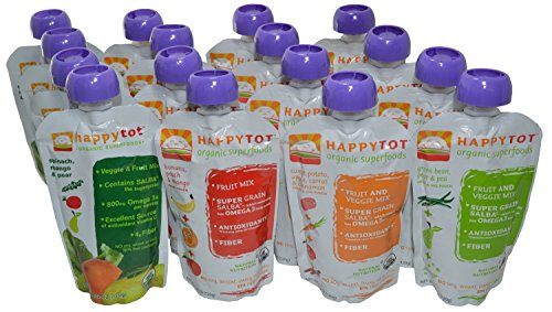 Happy Tot Organic Superfoods Stage 4, 4.22 OZ Baby Food Pouches Variety Pack of 16 ()