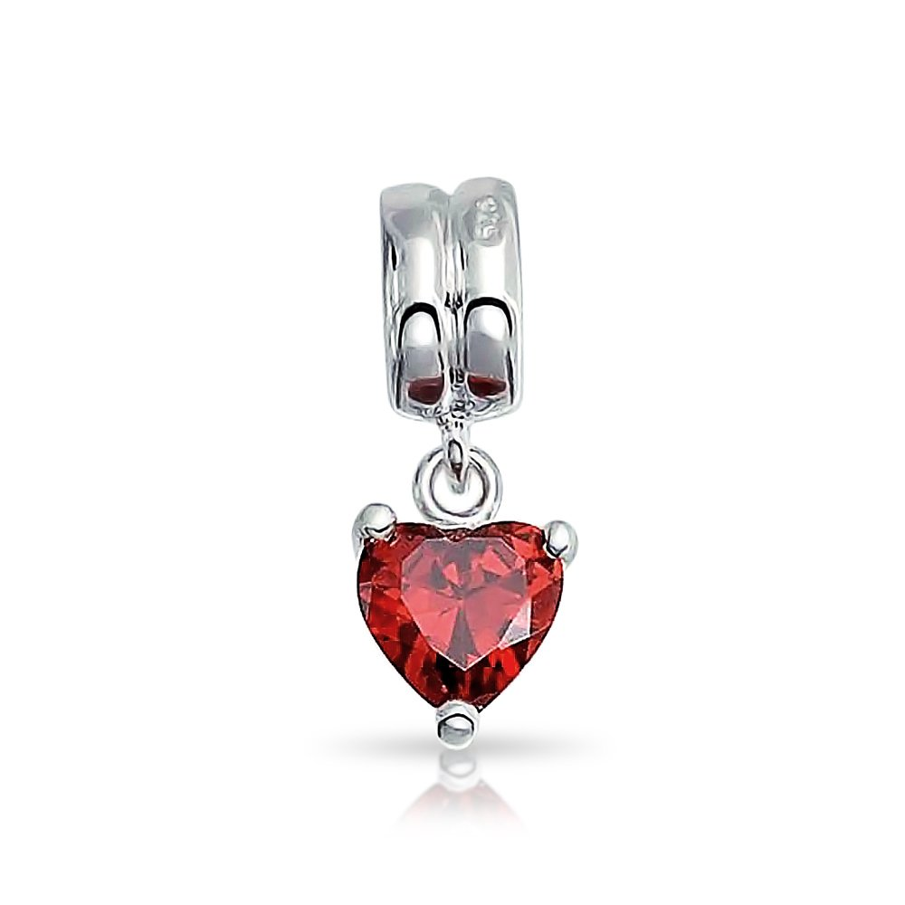 Bling Jewelry CZ Red Heart Charm 925 Sterling Silver Valentines Day Birthstone Bead For Bracelet PBX-D-SS0114