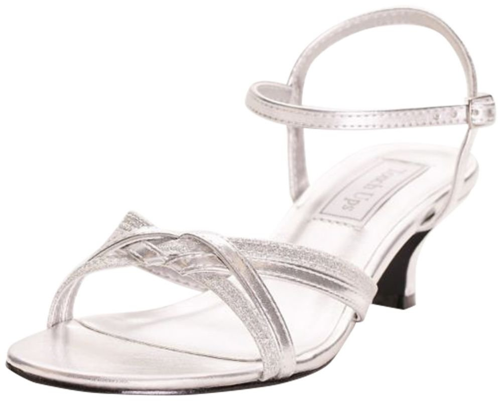 David's Bridal Melanie Metallic Low Heel Quarter Strap Sandals Style 896, Silver, 5