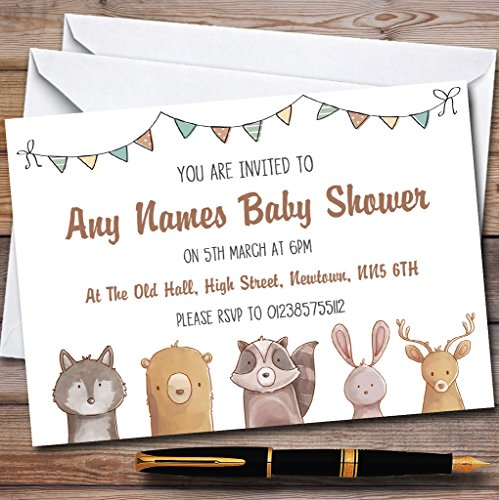 Forest Woodland Animals Invitations Baby Shower Invitations