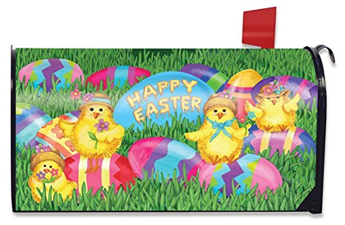 Briarwood Lane Happy Easter Chicks Mailbox Cover Decorated Eggs Standard Easter Eggs Mailbox Cover