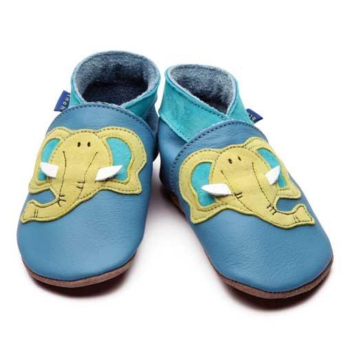 Inch Blue Chaussures Bébé Souples - Eléphant - Bleu - T 17-18 cm - 0-6 mois