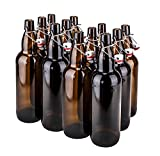 CASE OF 12-32 oz. EZ Cap Beer Bottles - AMBER - VINTAGE STYLE - HOME BREWING