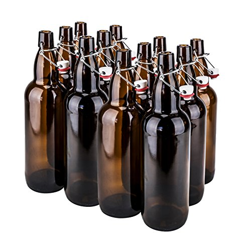 CASE OF 12-32 oz. EZ Cap Beer Bottles - AMBER - VINTAGE STYLE - HOME BREWING by Prosafe