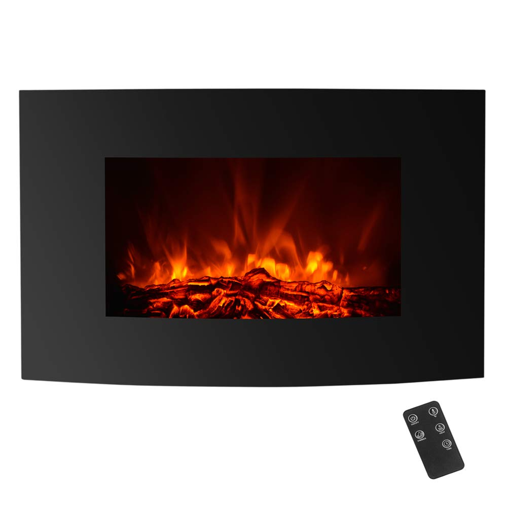IKayaa Elektrokamin Elektrokamin IKayaa mit Thermostat & Timer,Touch & Fernbedienung,Dimmer Modus,LED Gehärtetes Glas Gekrümmte Oberfläche, 2 Nennleistung (900W 1800W, 88 x 56 x 15cm, Schwarz) a08303