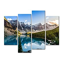 4 Pieces Modern Canvas Painting Wall Art The Picture For Home Decoration Moraine Lake And Mountain Range Sunset Canadian Rocky Mountains Landscape Mountain&Lake Print On Canvas Giclee Artwork For Wall Decor