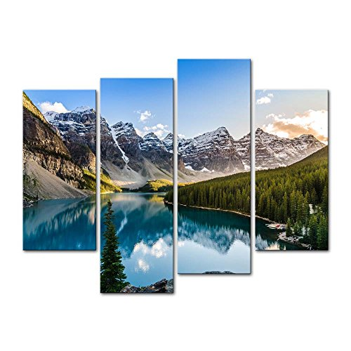 Wall Art Decor Poster Painting On Canvas Print Pictures 4 Pieces Moraine Lake and Mountain Range Sunset Canadian Rocky Mountains Landscape Framed Picture for Home Decoration Living Room Artwork