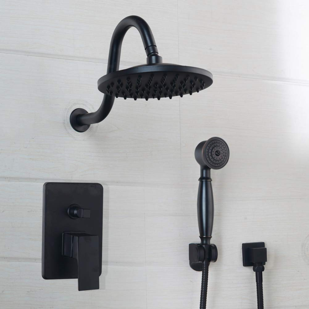HUASAA 8 Zoll Schwarz Runde Kopf Wandmontage Badezimmer Regendusche wasserhahn Sets Öl Eingerieben Bronze kopfbrause Duschsets