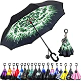 Monstleo Inverted Umbrella,Double Layer Reverse Umbrella for Car and Outdoor Use by, Windproof UV Protection Big Straight Umbrella with C-Shaped Handle and Carrying Bag (Dandelion)