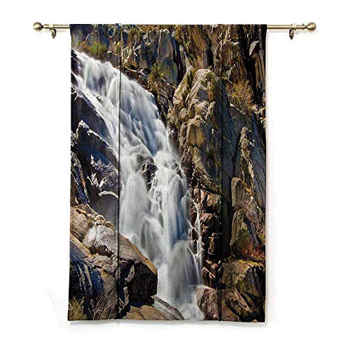 SONGDAYONE Bathroom Roman Curtain National Parks Home Decor Modern Design Stream Bedrock in Sunny Day Wild Lands Hike Mother Earth Motion,W23 x L64 Grey White