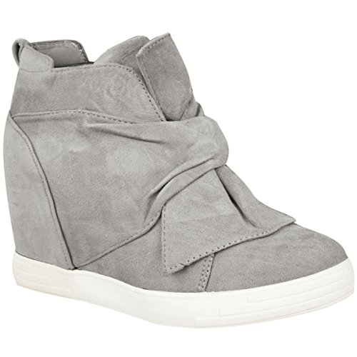 Thirsty Knot High Wedges Grey Tops Suede Ladies Heel Mid Bow Shoes Hi Sneakers Fashion Trainers Womens Size Faux HInqdwH7