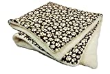 Brown paw print dog blanket with sherpa 30'' x 35'' warm
