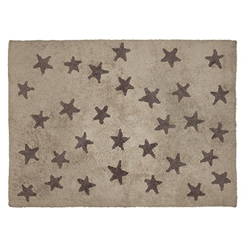 Lorena Canals Stars Machine Washable Kids Rug, 4 x 5 Feet, Handmade From 100% Natural Cotton and Non-Toxic Dyes, Perfect for Nursery, Baby, Playroom, or Childrens Rooms, Works for Outdoor or Beach - Shaw Rugs Vintage Rug