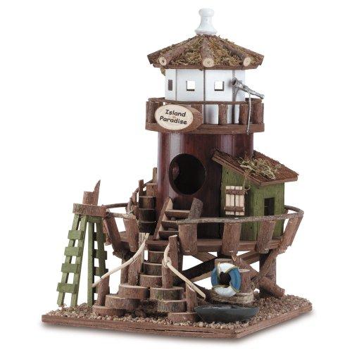 Gifts & Decor Wood Island Lifeguard Station Bird House (Beach House Pedestal)