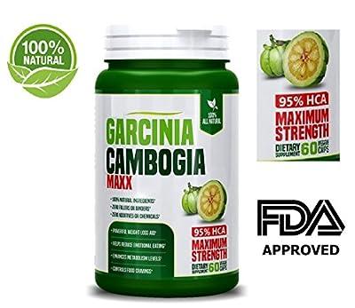 Pure 3000mg Garcinia Cambogia Capsules- All Natural Weight Loss Supplements – 95% HCA – 100% Natural Weight Loss Pills – Natural Appetite Suppressant & Fat Burner - 60 Capsules