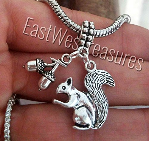EWT squirrel charm, Pine nuts nut acorn jewelry charm pendant for fit all brand & designer charm bracelets and any chain necklace ()