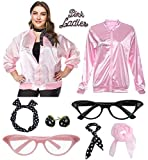 1950s Women Plus Size Pink Ladies Jacket with Cat Eye Glasses Headband Set (Rhinestone Pink, XXL)