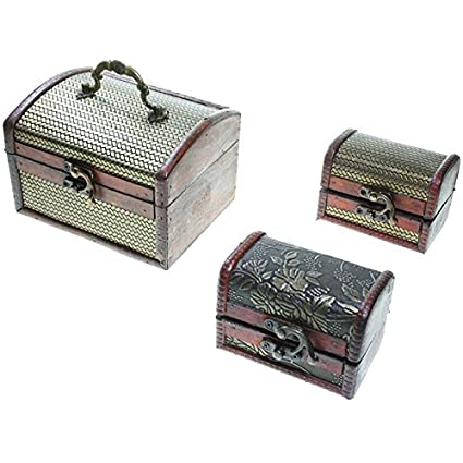 CHRISTIAN GAR Juego de 3 Cajas Decorativas de Madera (14,7 x 9,