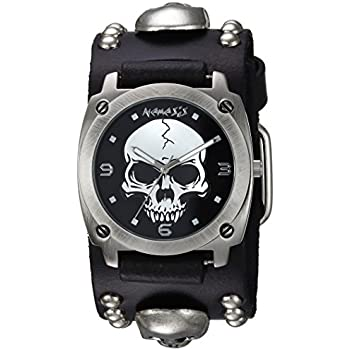 Nemesis Mens MSK926K Punk Rock Collection Black Heavy Duty Skull Leather Band Watch