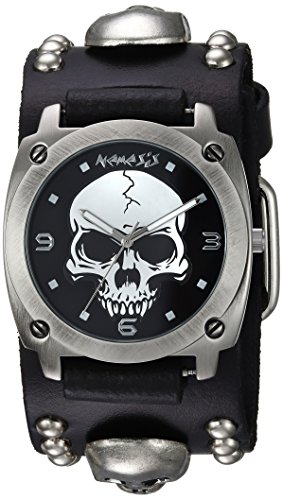 (Nemesis Men's MSK926K Punk Rock Collection Black Heavy Duty Skull Leather Band Watch)