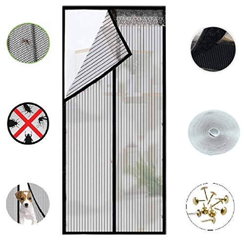 Magnetic Screen Doors New 2018 Patent Pending Design Full Frame Velcro and Fiberglass Mesh Polyester This Instantly Retractable Bug Screen. (Fits Doors up to 36 x 82-inch) (36-82)-QyYU