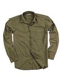 Men's Garment Dyed 100% Cotton Spread Collar Long Sleeve Shirt