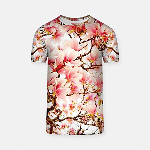 WolfCases Cherry Tree Cool T-Shirt Japanese Style Sakura Blossom Tee Every Day T Shirt for Men Large Sizes Clothing GO1139