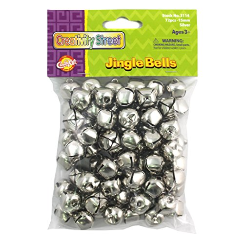 "Chenille Kraft CK-3114 Silver Jingle Bells, 0.8"" Height, 3.9"" Wide, 3.7"" Length, 5/8"" Diameter (72 per Package)"