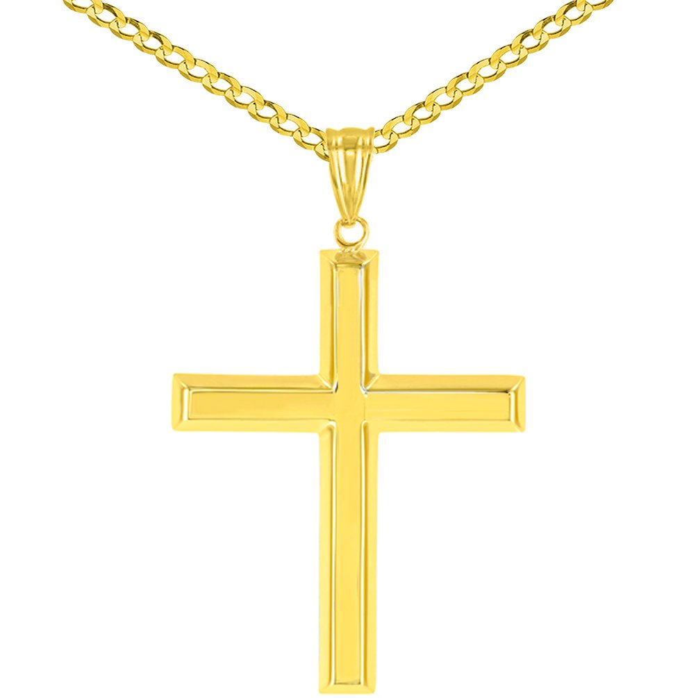 High Polish 14K Yellow Gold Plain and Simple Religious Cross Pendant Cuban Chain Necklace, 24''
