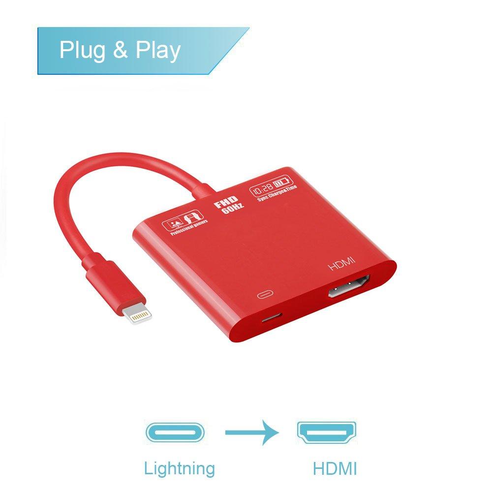 Onten Lightning to HDMI Adapter, 1080P 8 Pin Lightning to Hdmi Female Video Adapter Digital AV Adapter for iPhone/iPad/IPod Models (red)