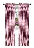 Achim Home Furnishings BCPN63BU12 Buffalo Check Curtain Panel, 42'' x 63'', Burgundy