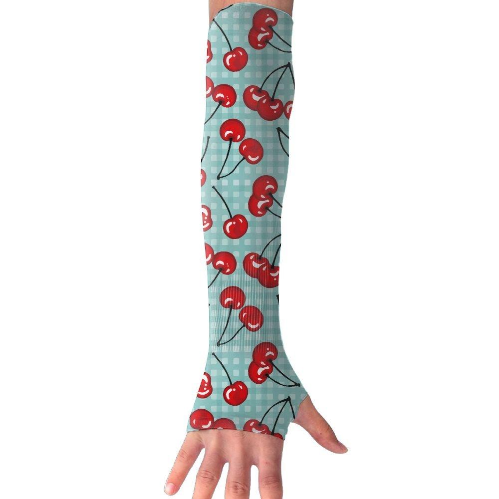 Unisex Cherry Fruit Sunscreen Outdoor Travel Arm Warmer Long Sleeves Glove