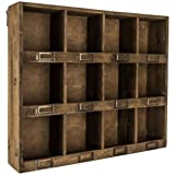 Cheap Rustic Antique Brown Wooden Wall Shelf with 12-Slots