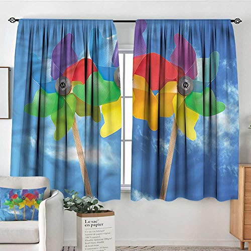 (PriceTextile Pinwheel,Indo Panes Drapes Sunny Summer Day Kids Fun 52