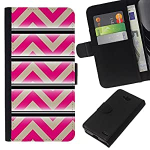 All Phone Most Case / Oferta Especial Cáscara Funda de cuero Monedero Cubierta de proteccion Caso / Wallet Case for LG OPTIMUS L90 // Pattern Pink Beige Lines Abstract