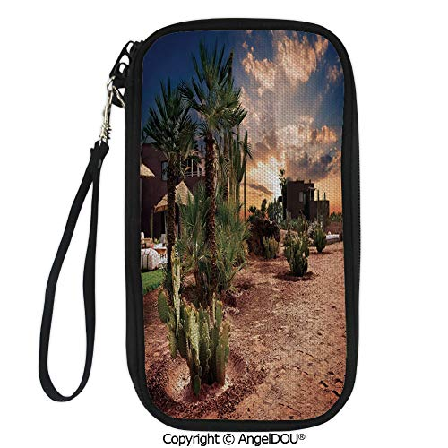 - PUTIEN Travel Document Organizer Credit Card Clutch Bag Majestic Sky View Palm Trees and Cactus in Oasis Morocco Tropic Nature for Men Women.
