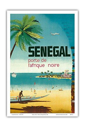 Pacifica Island Art Senegal, Africa - Porte de L'Afrique Noire (Gateway to Sub-Saharan Africa) - Ngor Beach, Dakar - Vintage World Travel Poster c.1950s - Master Art Print - 12in x 18in