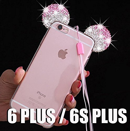 iPhone 5/5S/SE/6/6S/6+/6S PLUS Case, 3D Mickey & Minnie Mouse Crystal Diamond Bling Rhinestone Ears Clear TPU Rubber Silicone Cover with Lanyard & Stylus Pen (iPhone 6+/6S+ Plus)