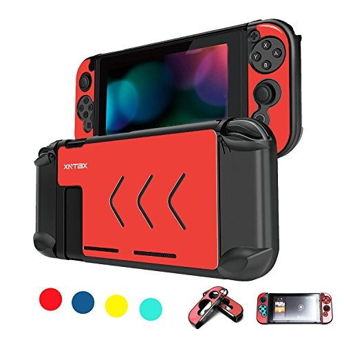 Protective Case Compatible with Nintendo Switch - Anti-scratch Dustproof Hard Cover Shells For Nintendo Switch Console And Joy-Con Controller NS (Red) ()