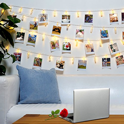 40 LED Photo Clips String Lights – 8 Modes Wall Hanging Clothespin Picture Display Peg Card Holder, Girl Back to School Dorm Room Décor Essential, Birthday Party Halloween Christmas Decorations Gifts