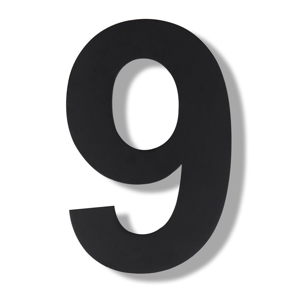 Mellewell modern floating house numbers super large 12 inch black finish stainless steel 18 8 number 9 nine amazon com