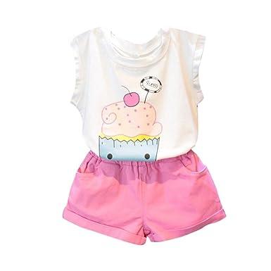 OverDose Bebé niña Ropa impresión Linda Conjunto Camiseta + Falda ...