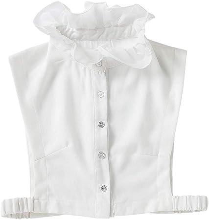Tinaa - Camisa de mujer con volantes falsos cuello desmontable cuello de pie blanco blanco: Amazon.es: Ropa y accesorios