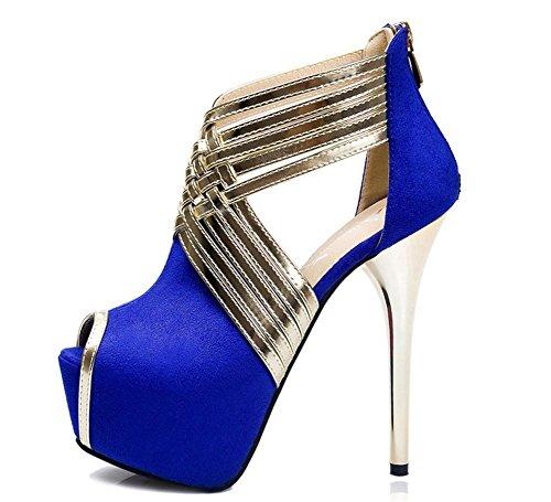 35 Sexy Donna Discoteca XIE Festa Attraversare sandali scamosciato L Nero Scarpe Stiletto UK cinghie piattaforma EUR 3 Tacco Vestito alto TqEg5w